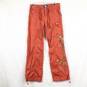 EUC - Cargo Pants Swarovski/Embroidery on leg Sz 7